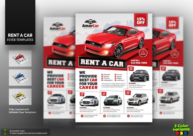 Rent A Car Flyer Templates Croovs Community Of Designers